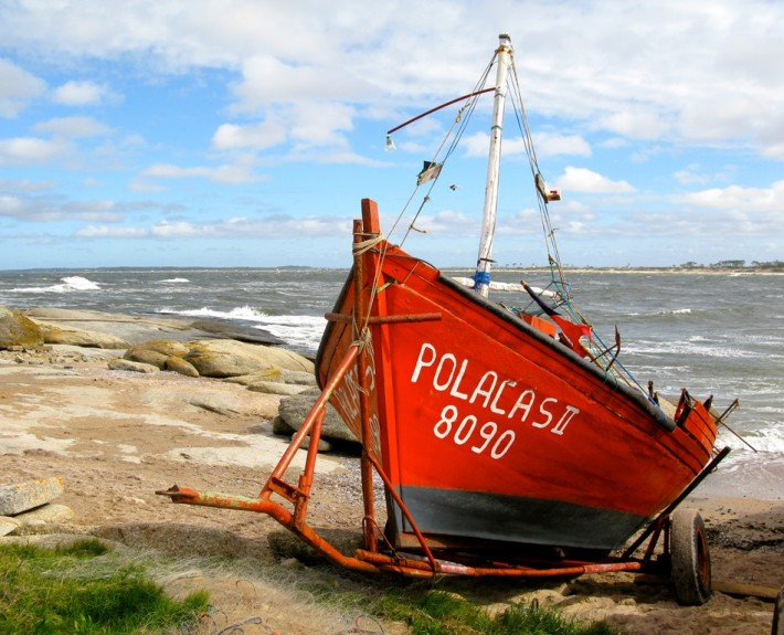 Fishing boat on atlantic shore